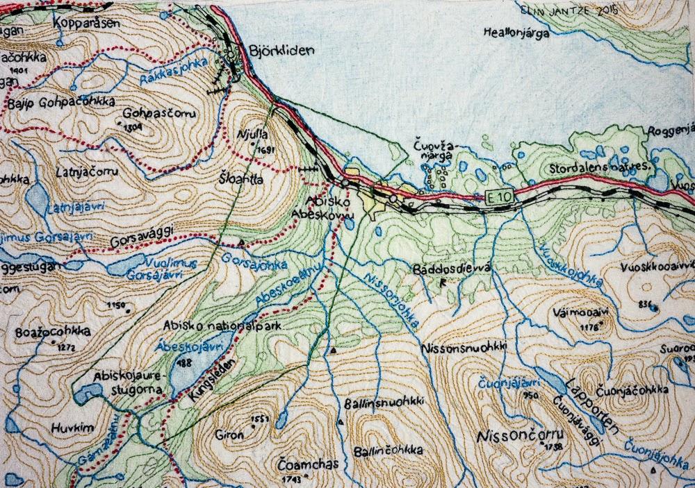 abisko karta med nål och tråd: :: brodera en karta över Abisko :: abisko karta