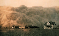 Dust Bowl:  Dust storm in Texas 1935 - Click to Enlarge.