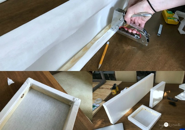 making DIY linen shade frames