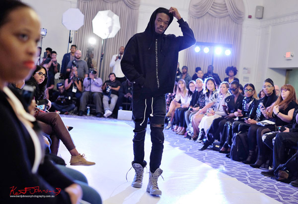 Graphic hoodie, Streetwear Label  Finesse UK at Bracé NYFW. Photographed by Kent Johnson.