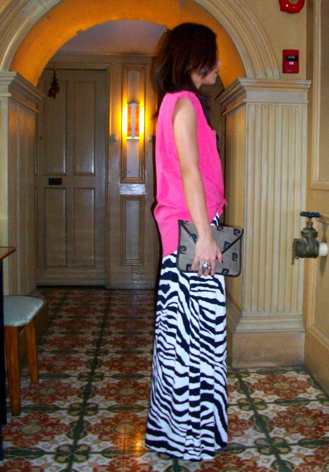 f263474f85d1 pink manila top, DIY necklace, zebra maxi dress used as a skirt, vintage  pierre cardin clutch, jessica simpson danys