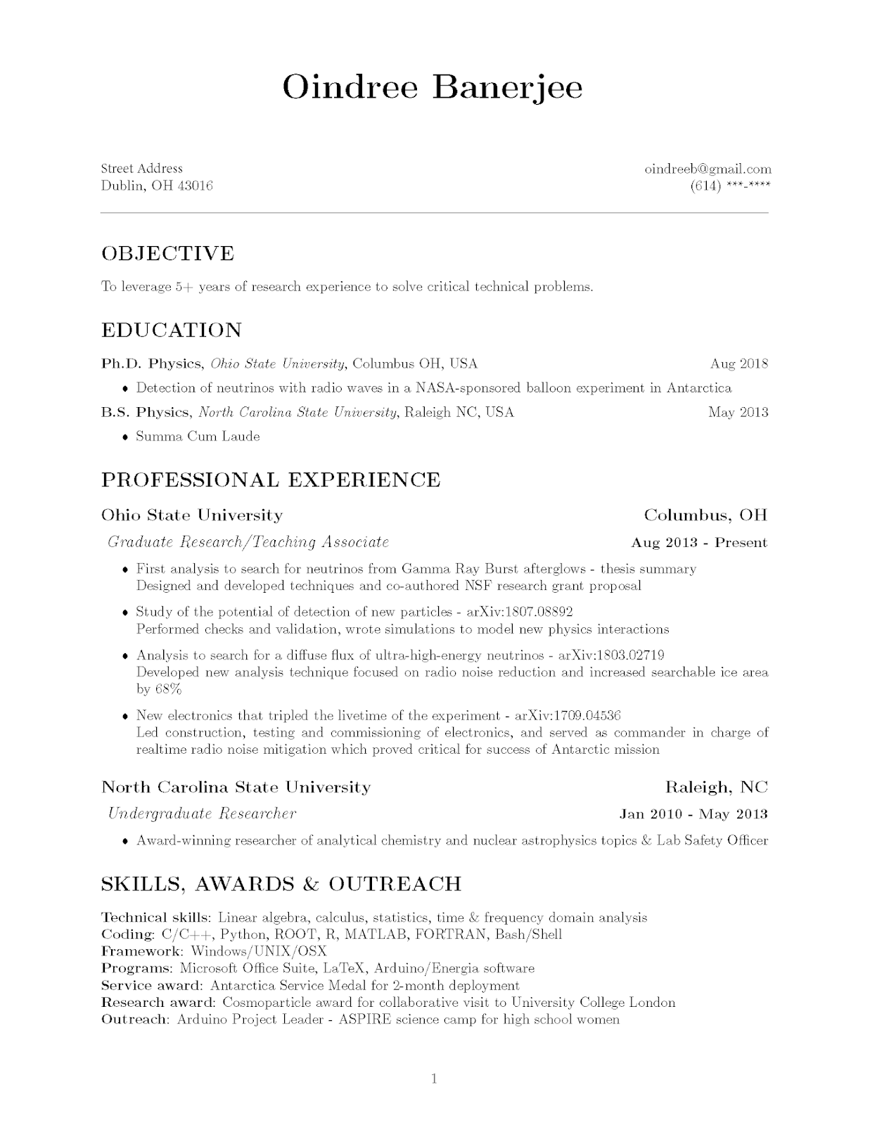 How To Phd Latex Resume Template One Page Resume Phd Resume
