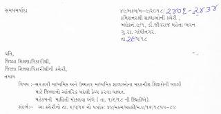 गवरमेंट माध्यमिक और उच्चतर माध्यमिक विद्यालय मे मददनीश शिक्षकों के लिए जिला आन्तरिक और जिला फेरबदली केम्प योजवा बाबत पत्र