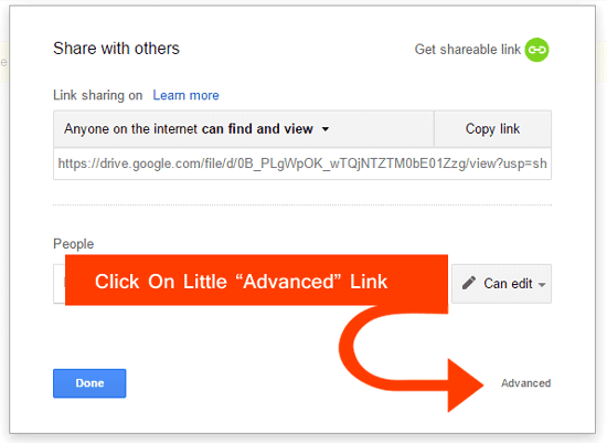 Click On Advanced Link