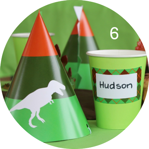 Dinosaur Party supplies! Printable party decorations personalised with your child's name and age. Roar!