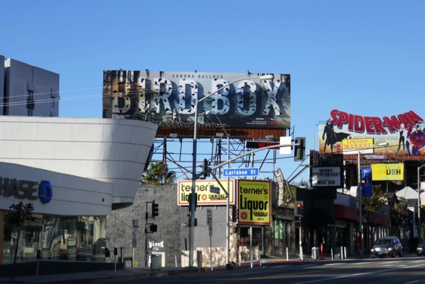 Bird Box Netflix film 3D billboard Sunset Strip