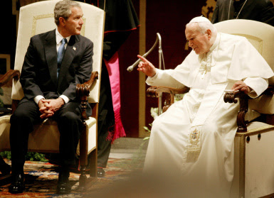 Pope John-Paul II and George W. Bush