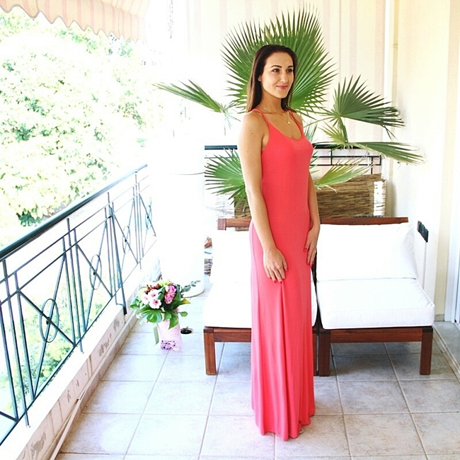 long coral pink maxi dress for evening and special occassions