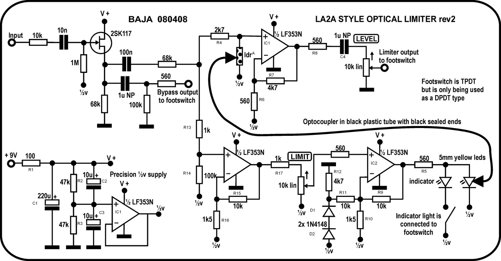 Perf And Pcb Effects Layouts Re Wah Pedal Buffer Circuits Its Designed As A Buffered Bypass With The Input Jack Going To In Pad On Board Third Of 3pdt Footswitch Selecting Between