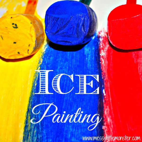 Ice painting - fun art ideas for kids. Toddlers and preschoolers will love this easy art technique. A simple science and colour learning activity for kids.
