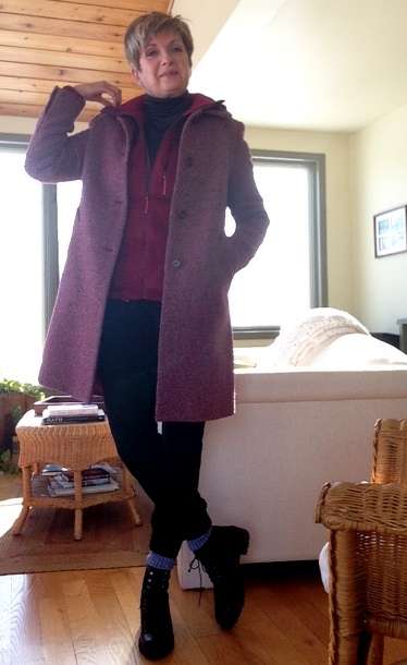 raspberry fleece from MEC, black Hot Chillys base layer turtleneck from Bushtakah, black joggers from Aritzia, black boots from Stuart Weitzman, fuchsia tweed coat from Max Mara