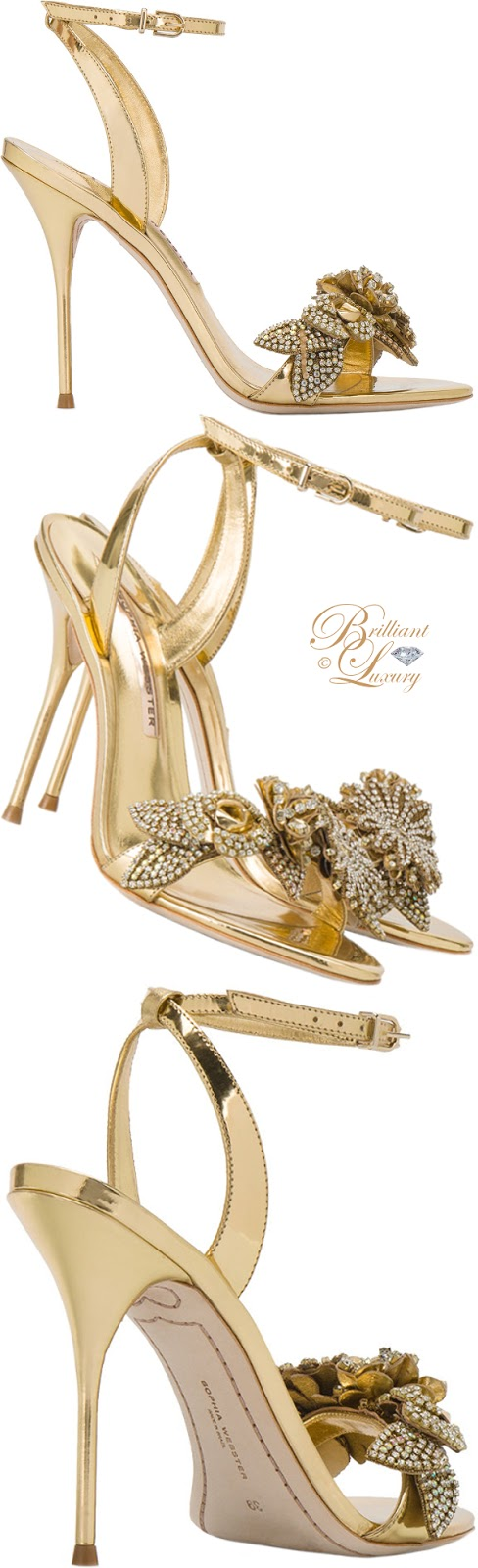 Brilliant Luxury ♦ Sophia Webster gold leather Lilico sandals