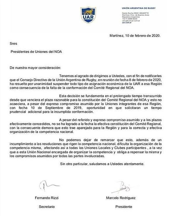 Comunicado UAR, suspende apoyo económico al NOA
