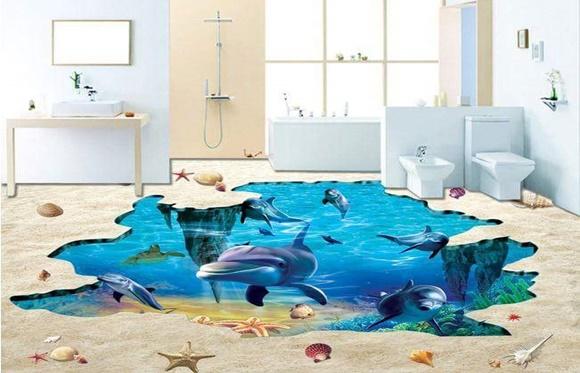 Banheiro piso fundo do mar