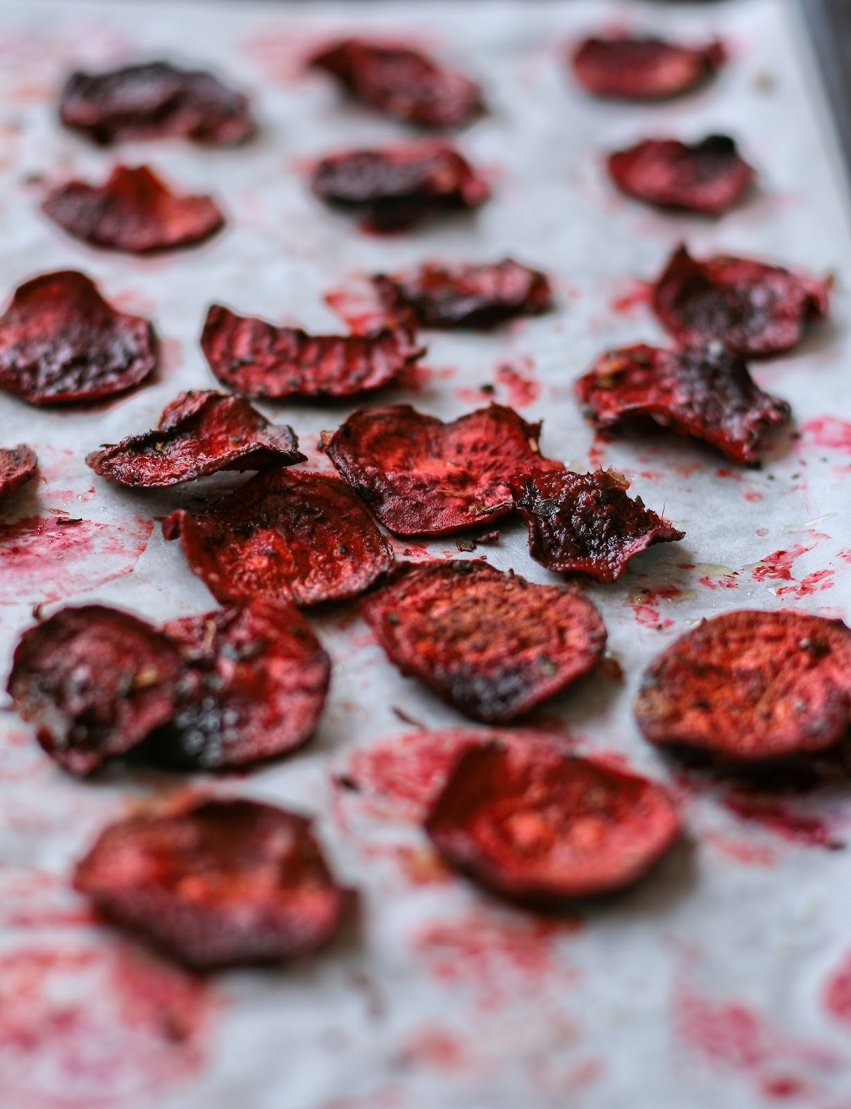 Homemade beetroot chips.