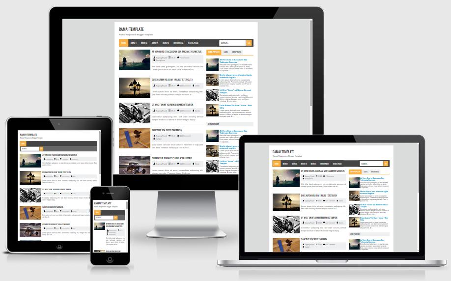 meluncurkan template gratis terbarunya yang dinamai  Ramai Blogger Responsive Template