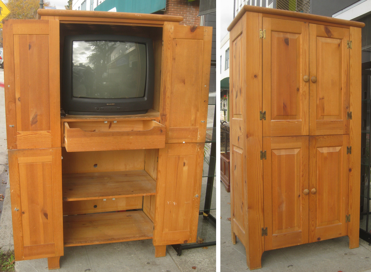 UHURU FURNITURE & COLLECTIBLES: SOLD - Pine TV Armoire - $60