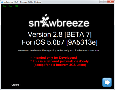 Download Sn0wbreeze 2.8b7 To Tethered Jailbreak iOS 5 Beta 7 On Windows