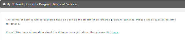 My Nintendo Rewards Program Terms of Service filler placeholder fake