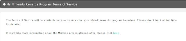 My Nintendo Rewards Program Terms of Service filler placeholder fake