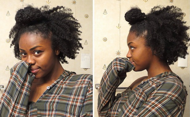 4C Natural Hair Styles- Ninja Bun Braid-Out