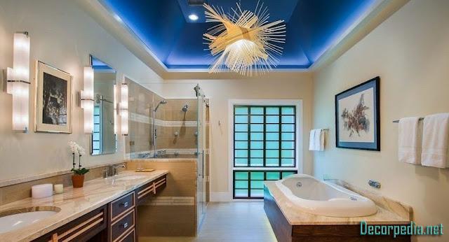 bathroom ceiling designs 2019, stretch ceiling for bathroom with lighting ideas