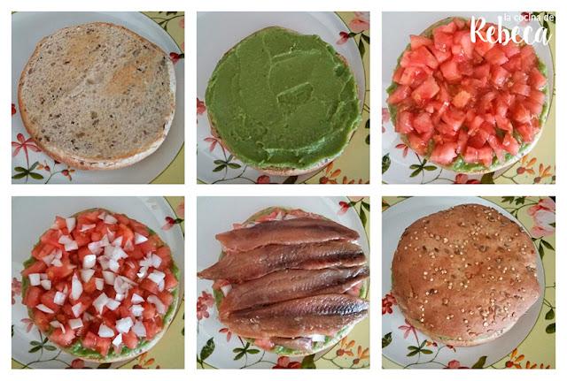Receta de guacamole con sardinas en pan de semillas 02