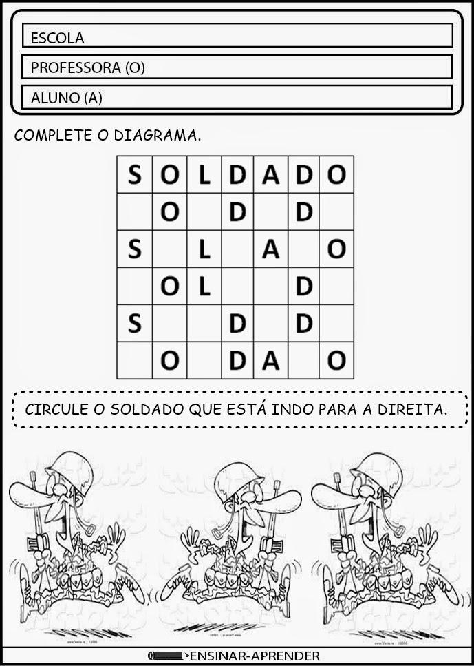 CONFIRA ATIVIDADES ESCOLARES DIA DO SOLDADO