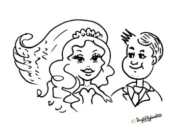 Wedding caricature by North East UK caricaturist Ingrid Sylvestre