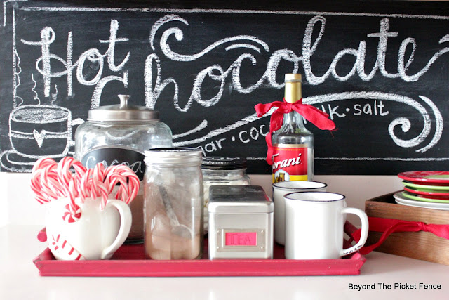 use thrift store finds to create a hot cocoa station