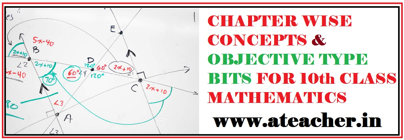 10th CLASS MATHEMATICS CHAPTER WISE CONCEPTS,IMPORTANT POINTS