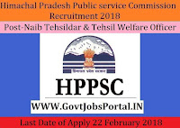 Himachal Pradesh Public service commission Recruitment 2018 – 20 Naib Tehsildar & Tehsil Welfare Officer