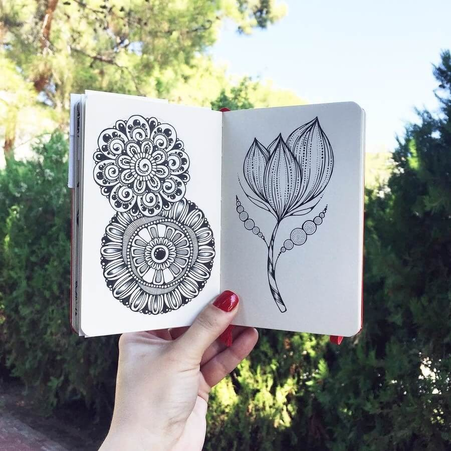 06-Ksenya-Gromova-Ink-Mandala-and-Flower-Drawings-www-designstack-co