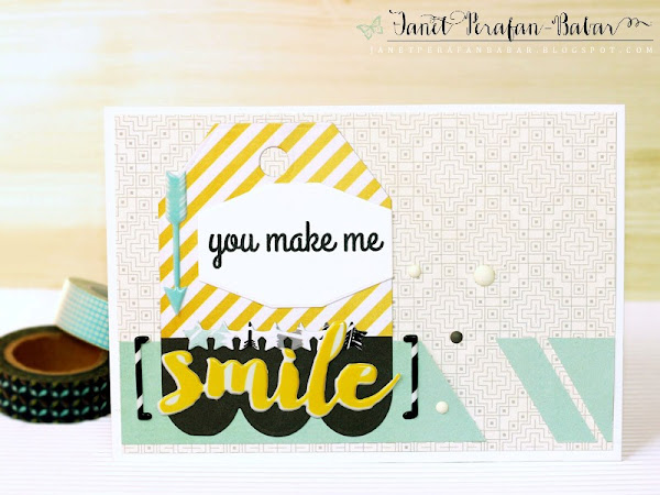 You Make Me Smile Card by Janet Perafan-Babar: Clique Kits Northern Lights May 2016 Kit | Reverse Confetti: You Make Me Smile Stamp, Tag Me Too Confetti Cuts, Label Me Confetti Cuts, Oh My Stars Confetti Cuts