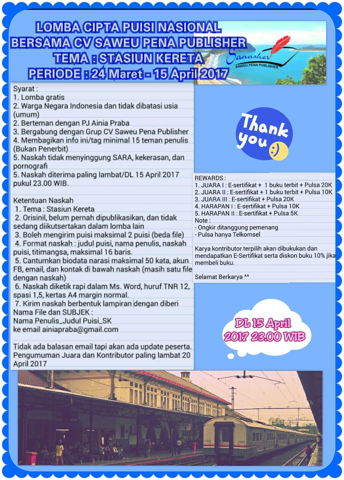 Informasi Lomba Cipta Puisi Nasional by CV Saweu Pena Publisher Deadline 15 April 2017