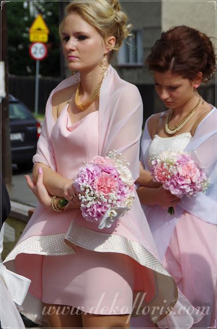 Różowy bukiet ślubny róże i storczyki opolskie druhny