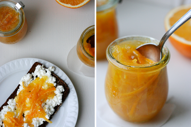 Orangenmarmelade mit Zesten und Ingwer