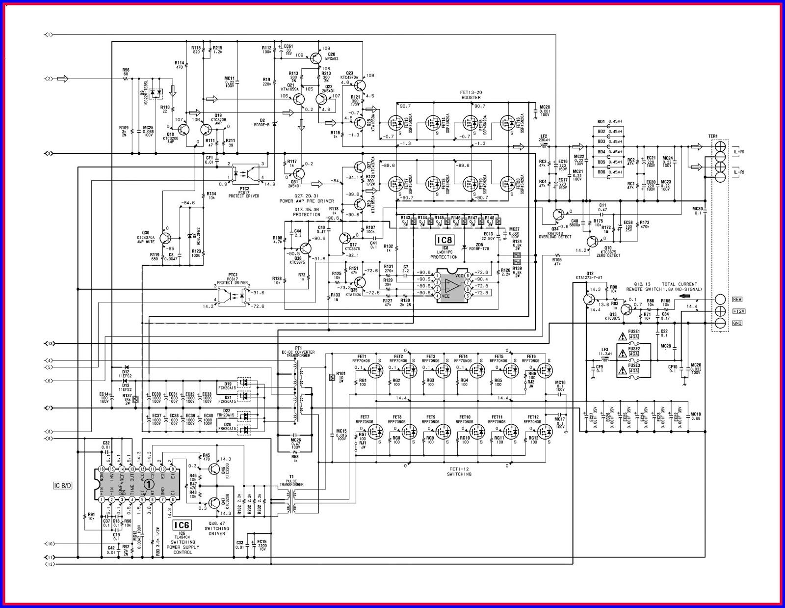 electronic equipment repair centre sony xplod xm d1000p5 car amp circuit diagram [ 1600 x 1238 Pixel ]