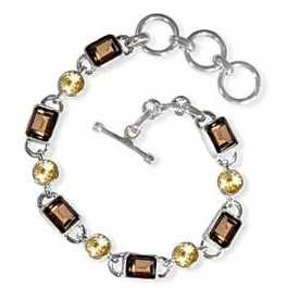 smoky topaz, gemstone, citrine, yellow, sterling, silver, 18, carat, toggle