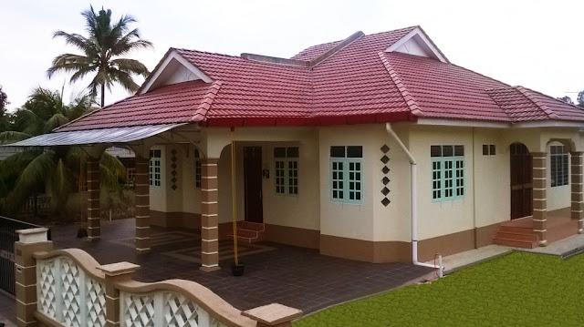 cat rumah kampung sederhana