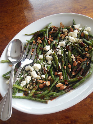 Blistered Green Bean Salad with Smoked Paprika Vinaigrette Feta Cheese and Chopped Almonds. Use fresh or frozen green beans!