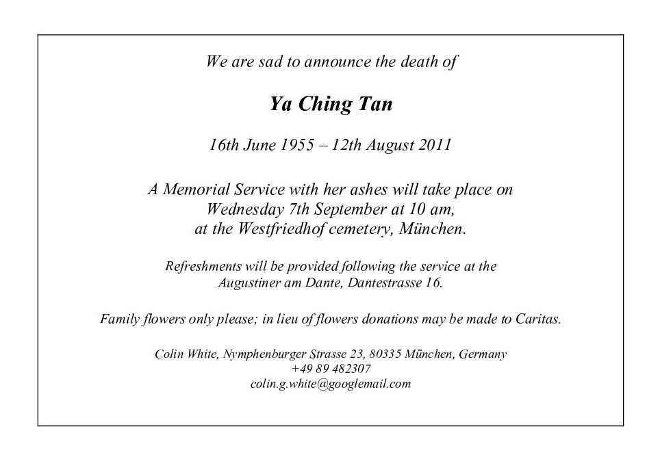 Tan Ya Ching: Memorial Service: Order of Service