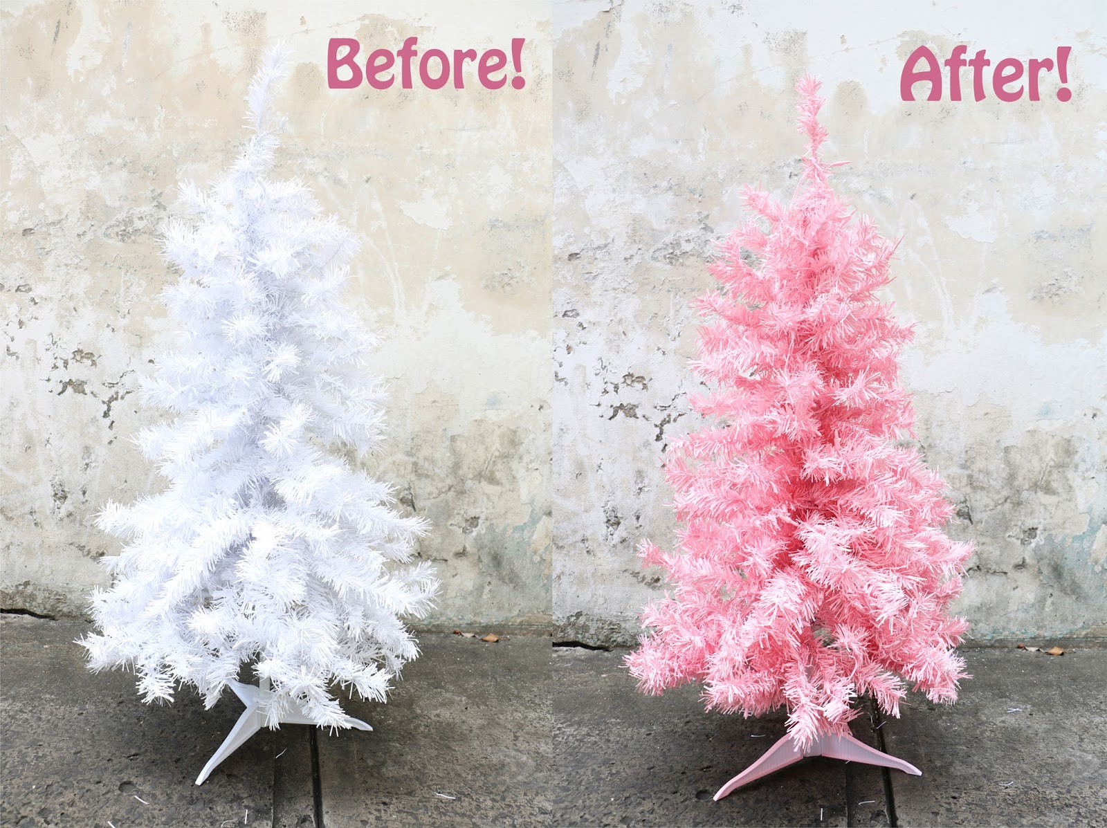 Use spray paint on a white tree to create this pink Christmas tree!