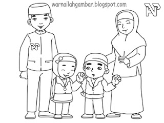 Mewarnai Keluarga Muslim Mewarnai Gambar