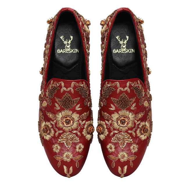 Bareskin Maroon Leather Slip-on with Copper gold zardozi embroidery - Rs 12,999