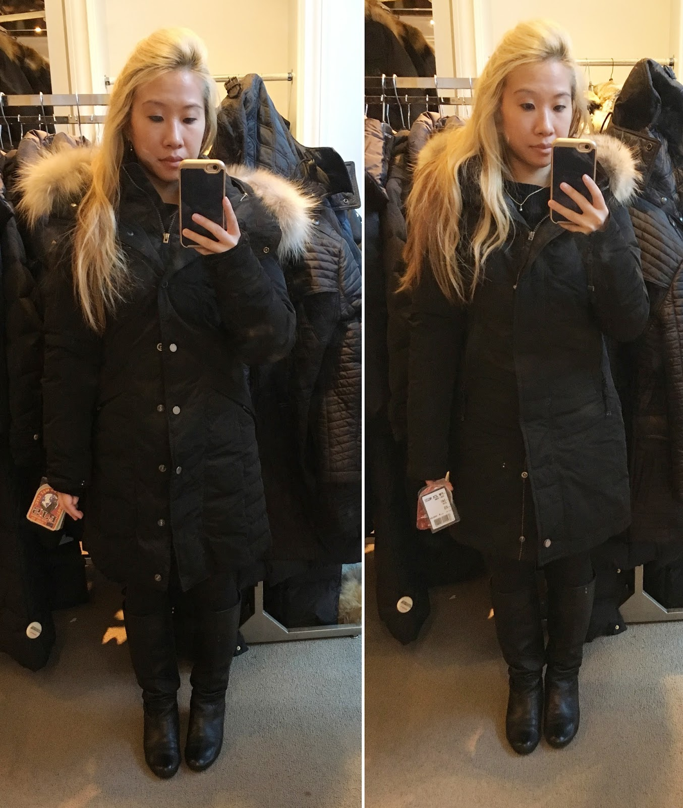 Parajumpers Angie Down Coat, and Selma Fur Trim Down Parka in XS