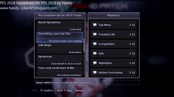 Update Soundtrack PES 2018 for PES 2013