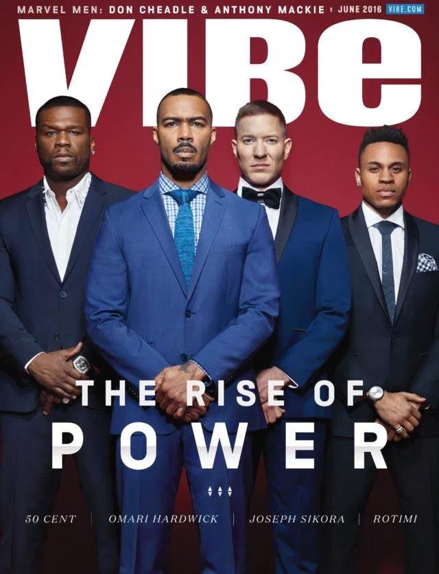 50 Cent, Omari Hardwick, Joseph Sikora, Rotimi cover frontpage of Vibe Magazine