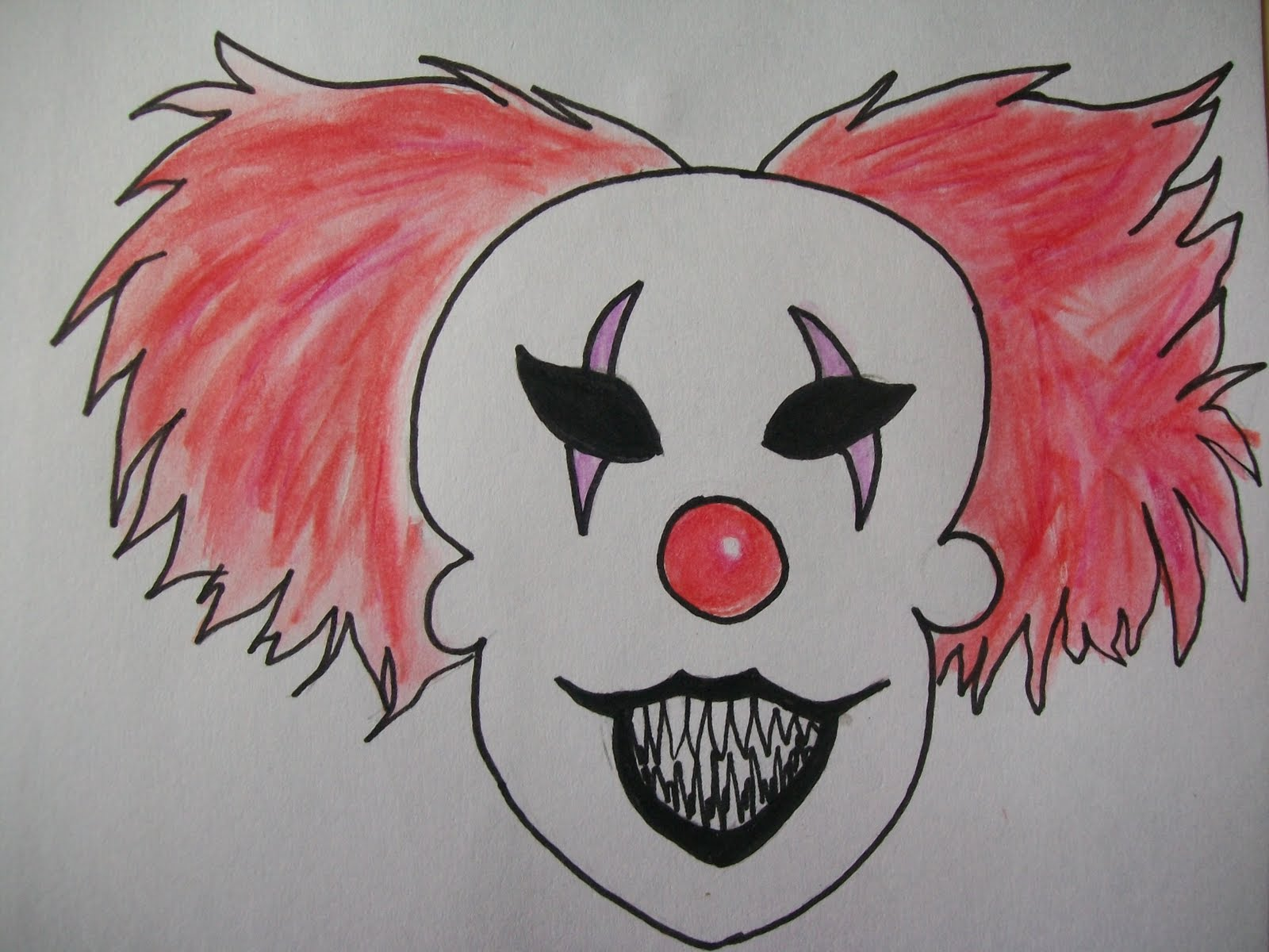 Scary Clown Drawing: Happiness Crafts: Scary Clowns And Postcards