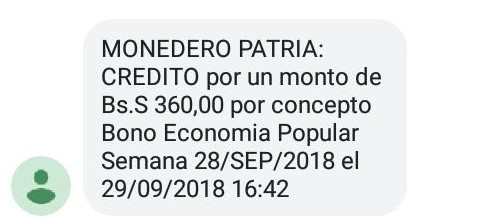 """Deposito en monedero patria 3era. parte del pago Bono Economía Popular Semana 28/SEP/2018 """"subsidio trabajadores independientes"""""""